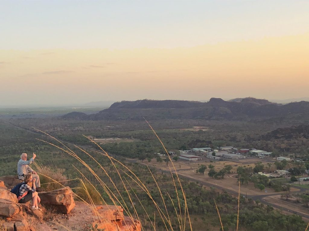 Kathryn watching the sunrise over Kununurra from Kelly's Nob